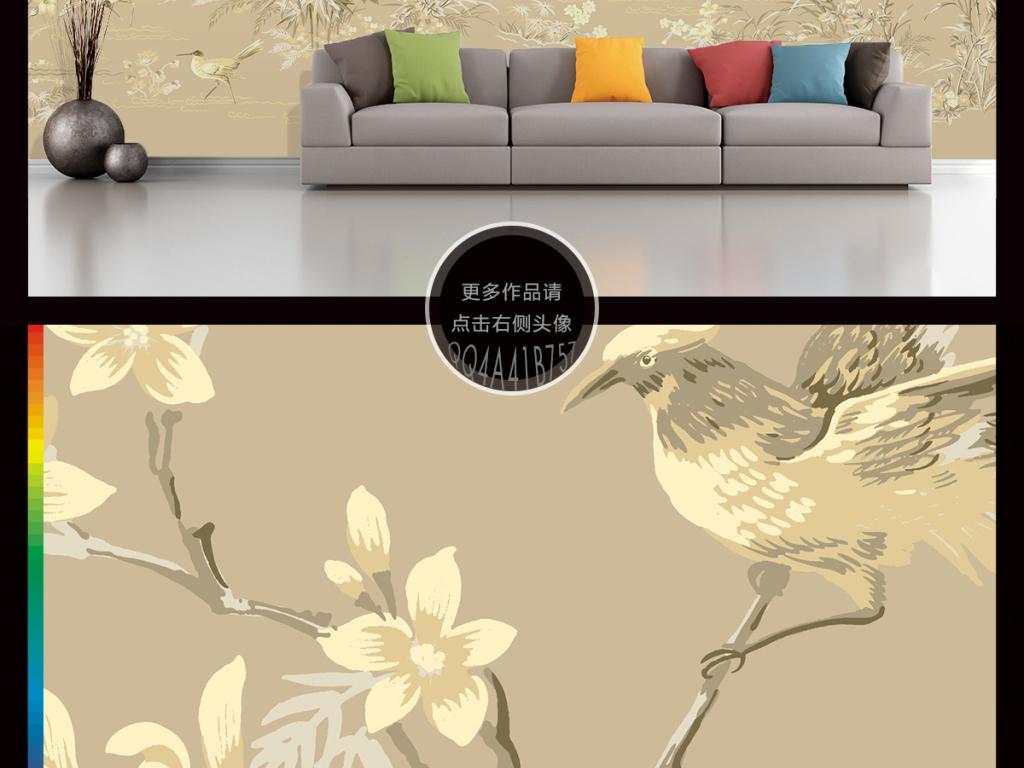 高清中国风手绘花鸟画大型壁画电视背景墙
