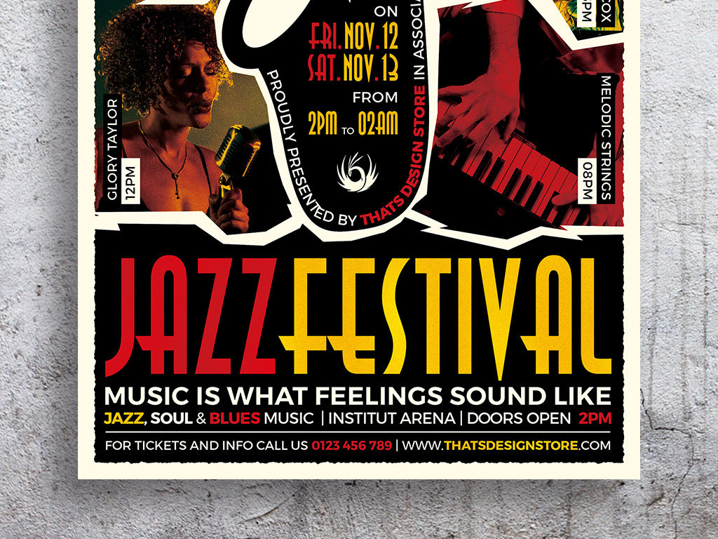 平面|广告设计 海报设计 国外创意海报 > 复古拼贴艺术爵士音乐节创图片