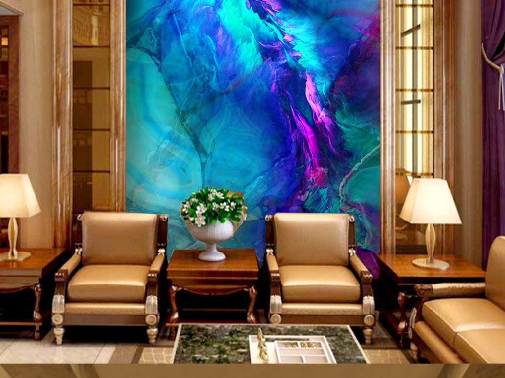 唯美蓝色大理石玛瑙玉石玄关背景墙