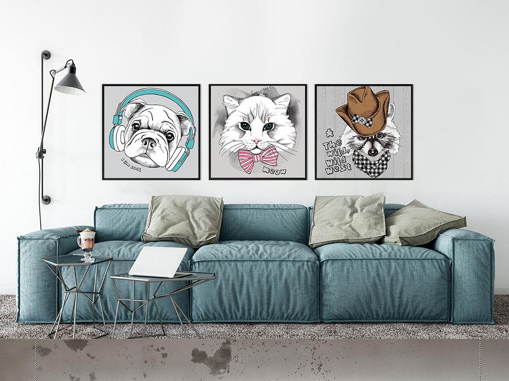 卡通手绘猫狗老虎动物图案无框画装饰画