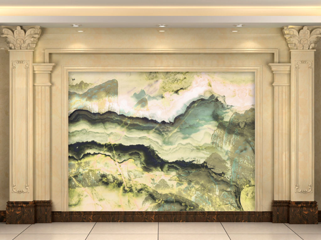 水墨画山水大理石纹电视背景墙