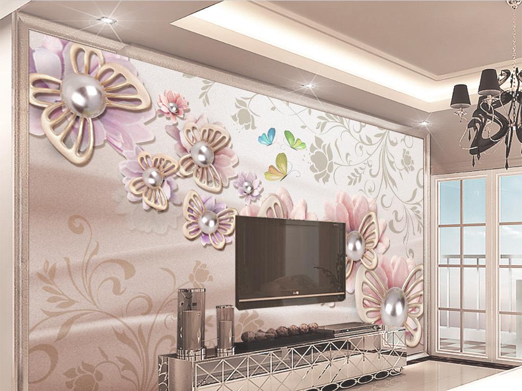 3d欧式温馨珠宝花朵电视背景墙