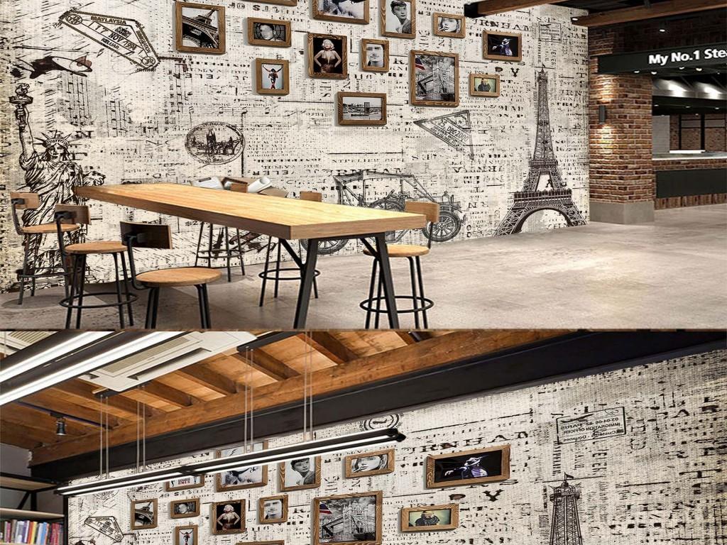复古欧式建筑印章餐厅酒吧背景墙