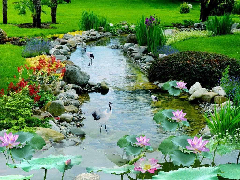流水荷花池3d立体画地板(图片编号:15818848)_3d植物
