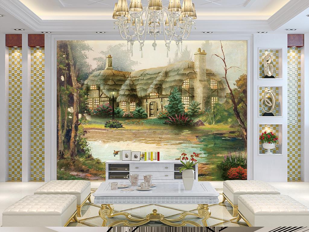 油画房子油画欧式油画油画风景小船背景墙