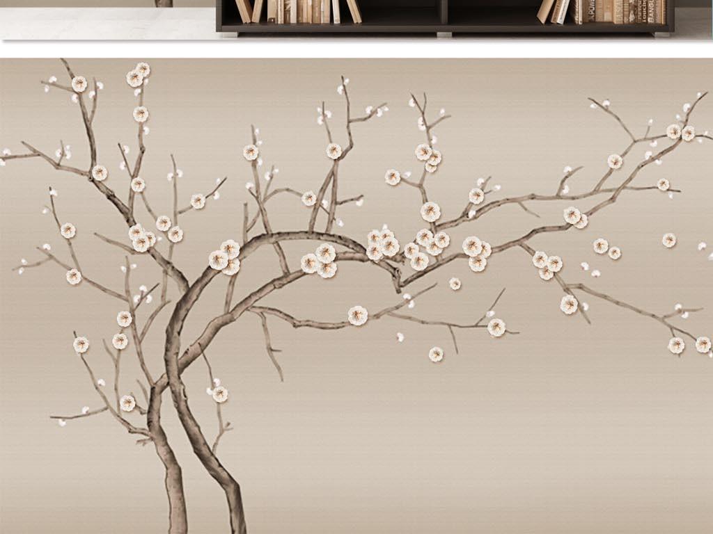 手绘中式花鸟珠宝花背景墙