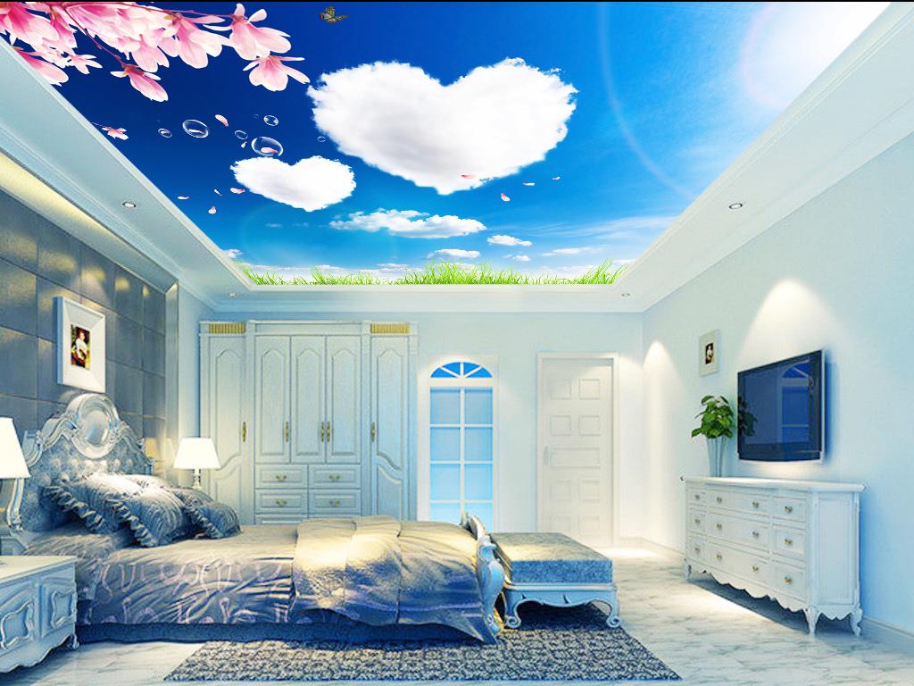 蓝天白云桃花爱心吊顶壁画背景墙