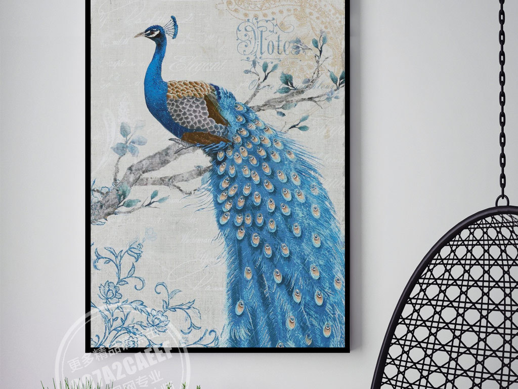欧式蓝色孔雀树枝花纹油画无框画图片