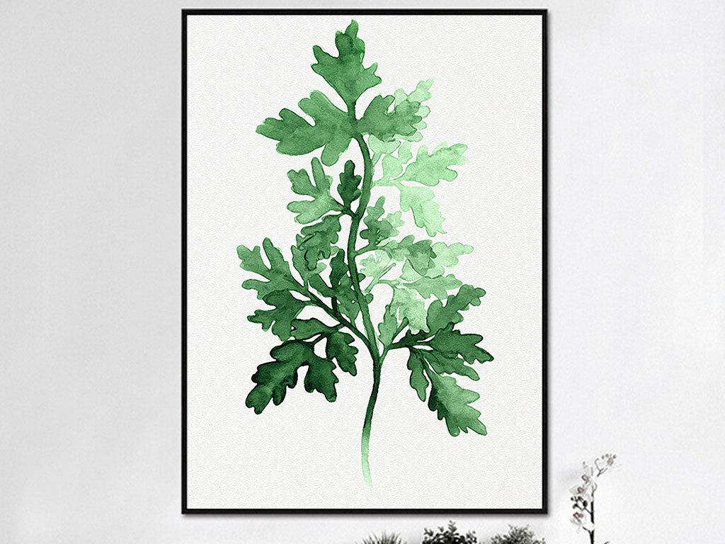 北欧风现代简约手绘树叶无框画