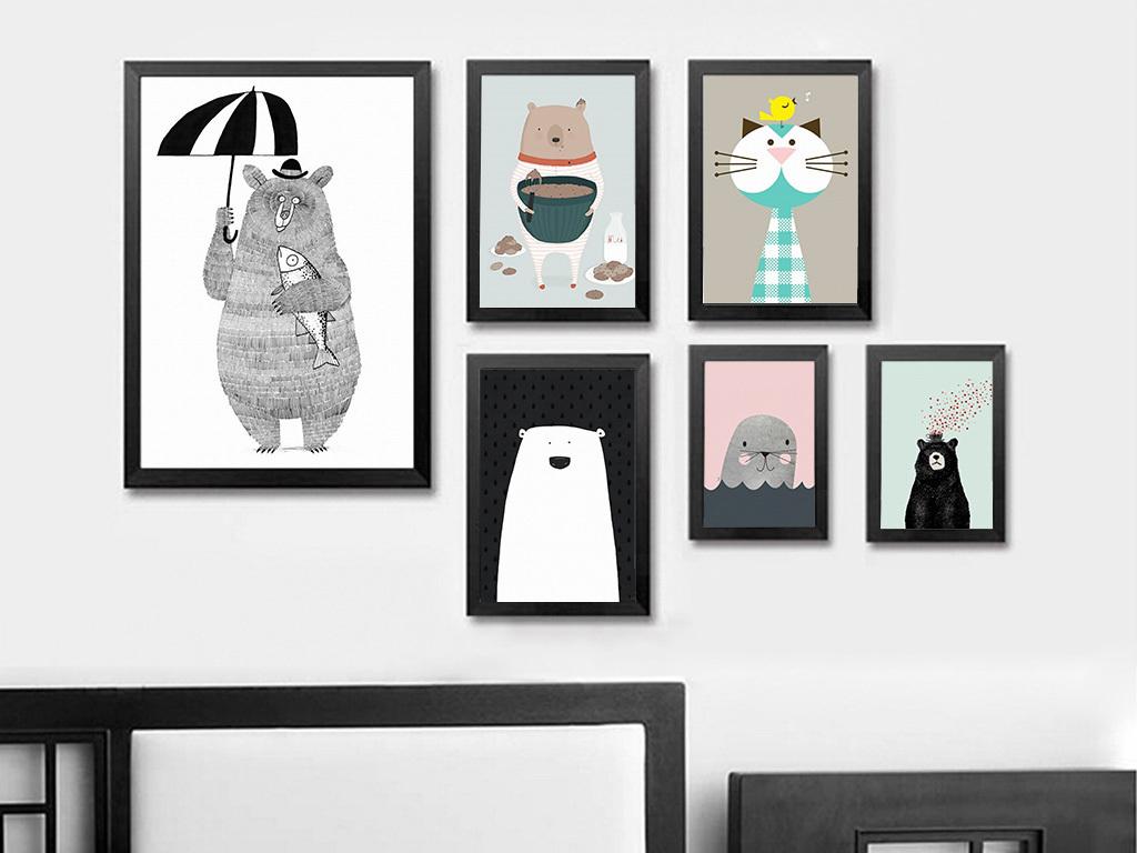北欧无框画动物无框画手绘插画装饰画图片