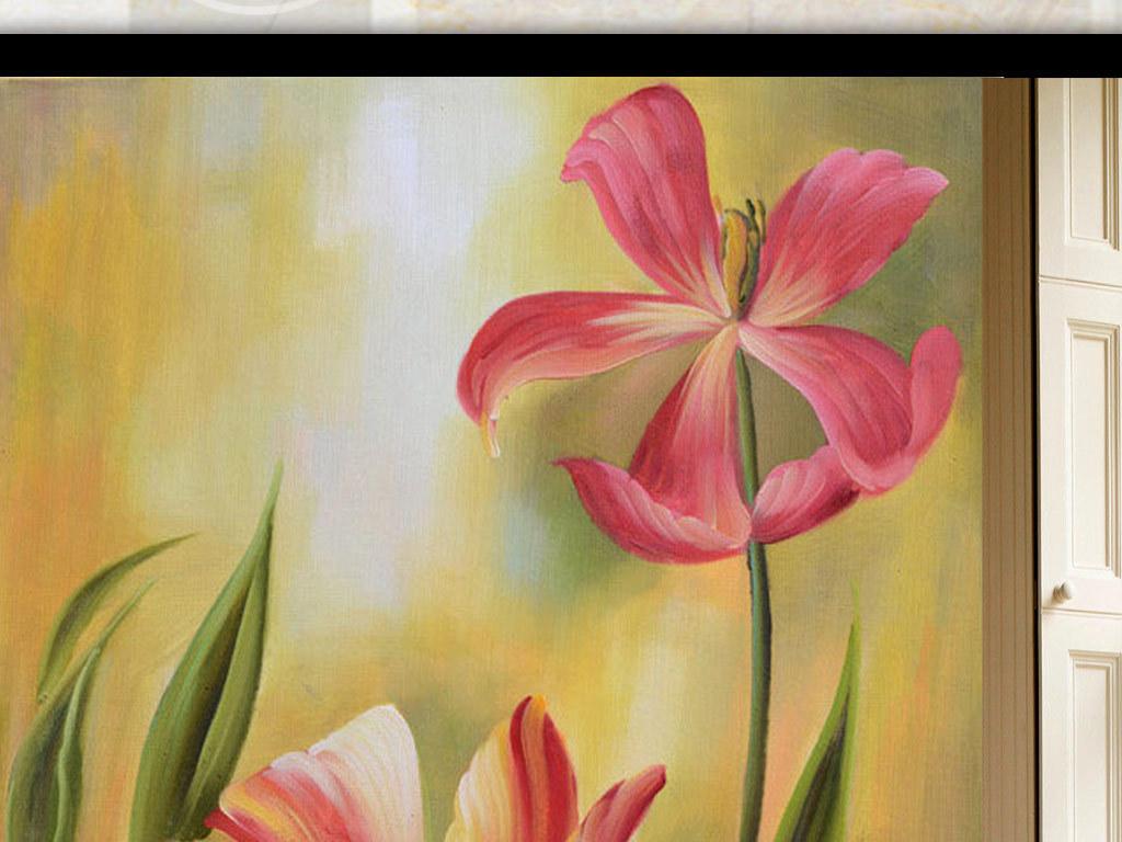 欧式玄关画手绘花唯美花朵手绘花朵玄关花朵唯美手绘