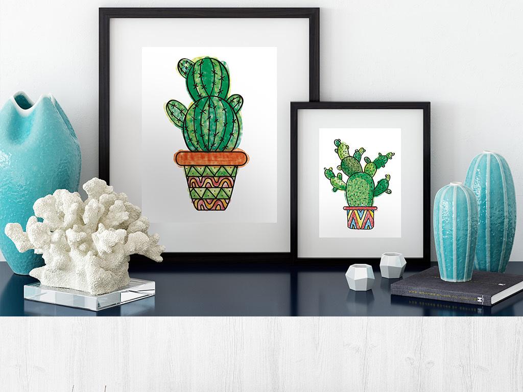 手绘水彩仙人掌系列无框画装饰画