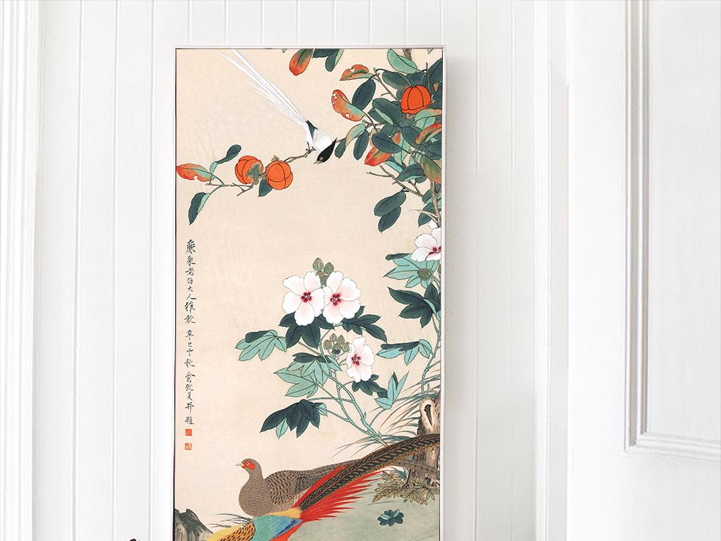 中式国画水墨花鸟书房玄关装饰画无框画国画油画动物