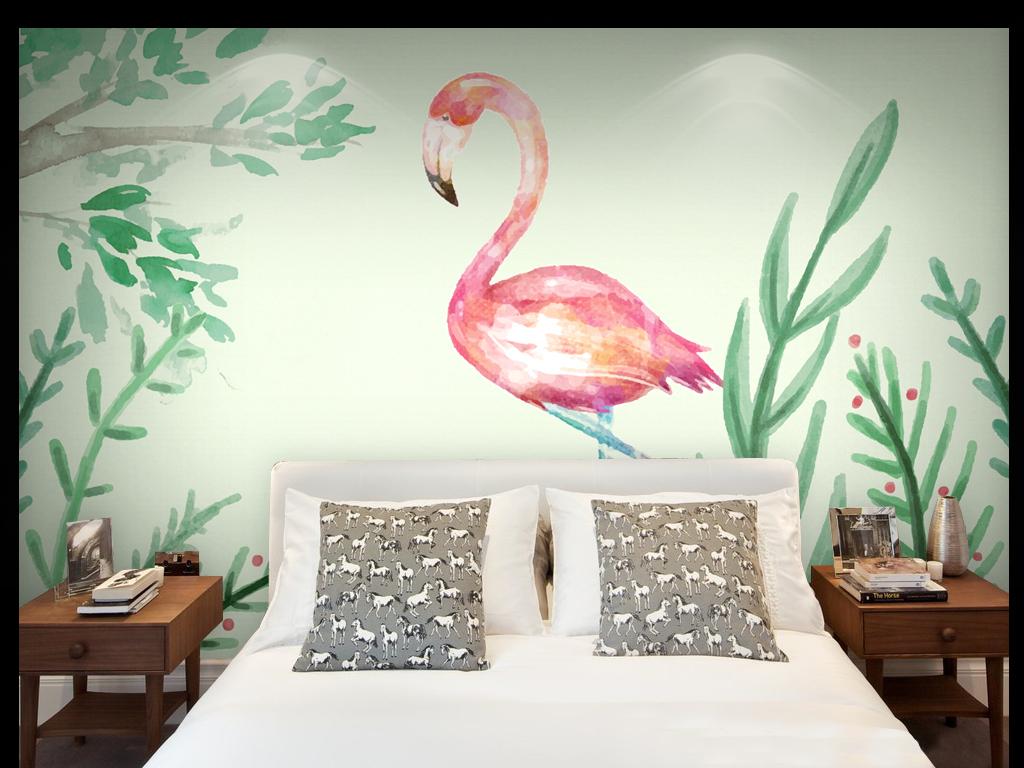 手绘电视背景墙 > 超高清原创分层像素上万北欧花鸟