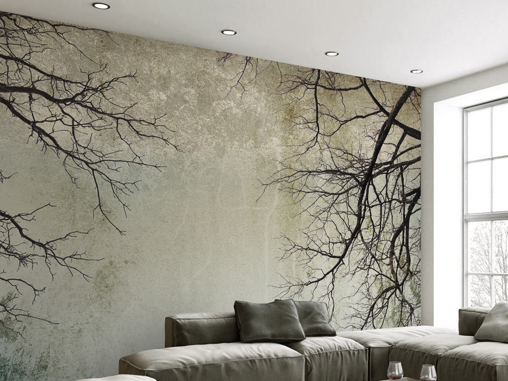 复古简约北欧风格树枝天空电视背景墙