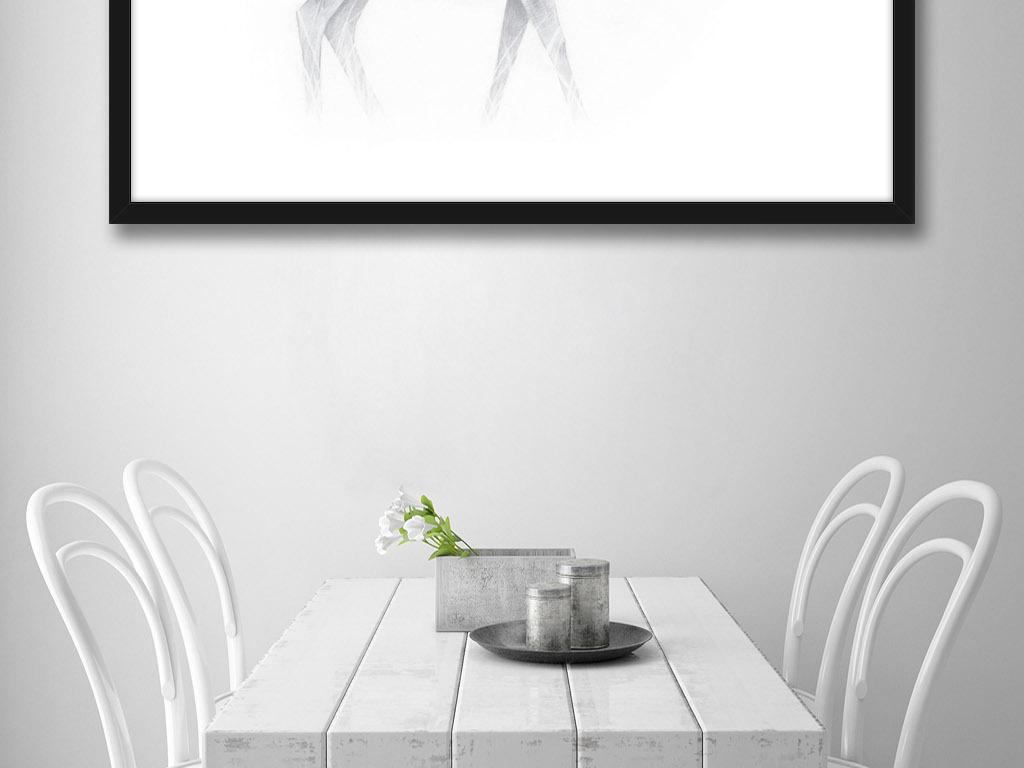 黑白手绘水彩梅花鹿蝴蝶美好家居装饰画