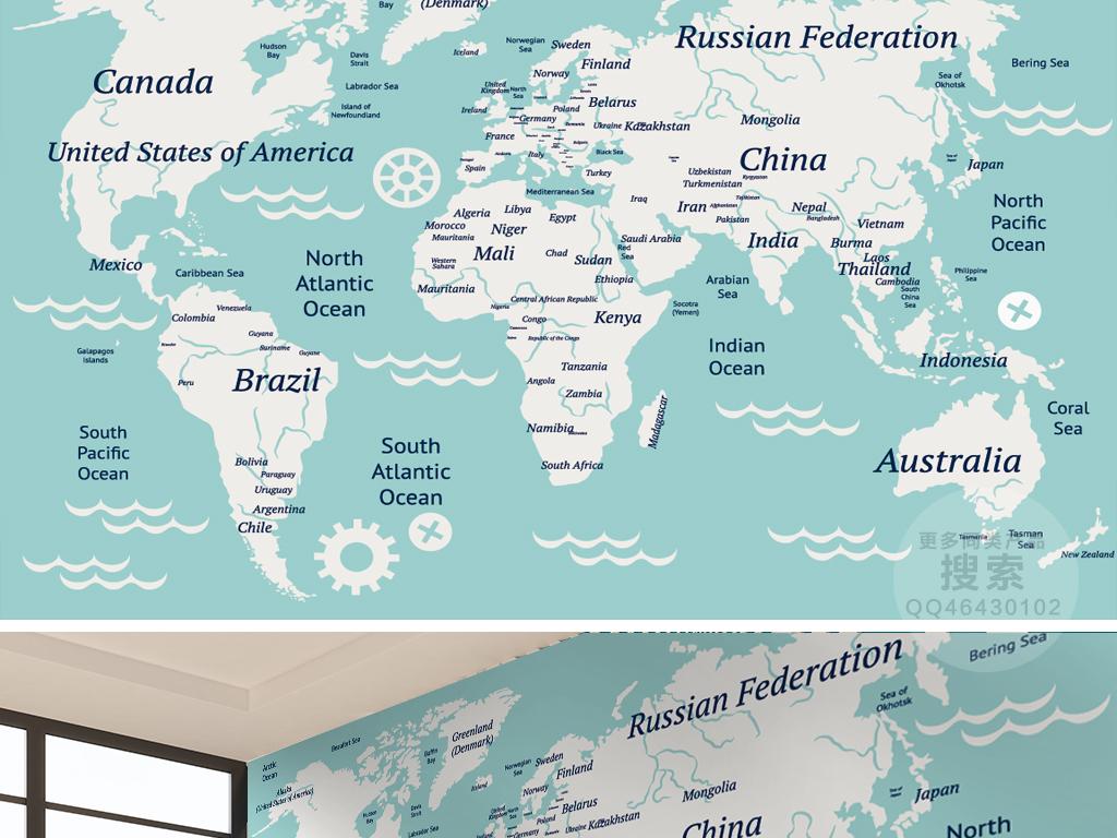英文世界地图背景墙