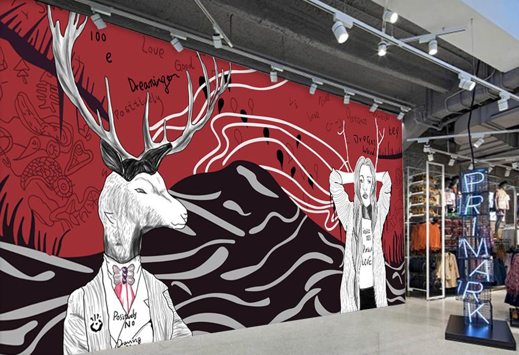 欧美手绘麋鹿服装店咖啡店背景墙