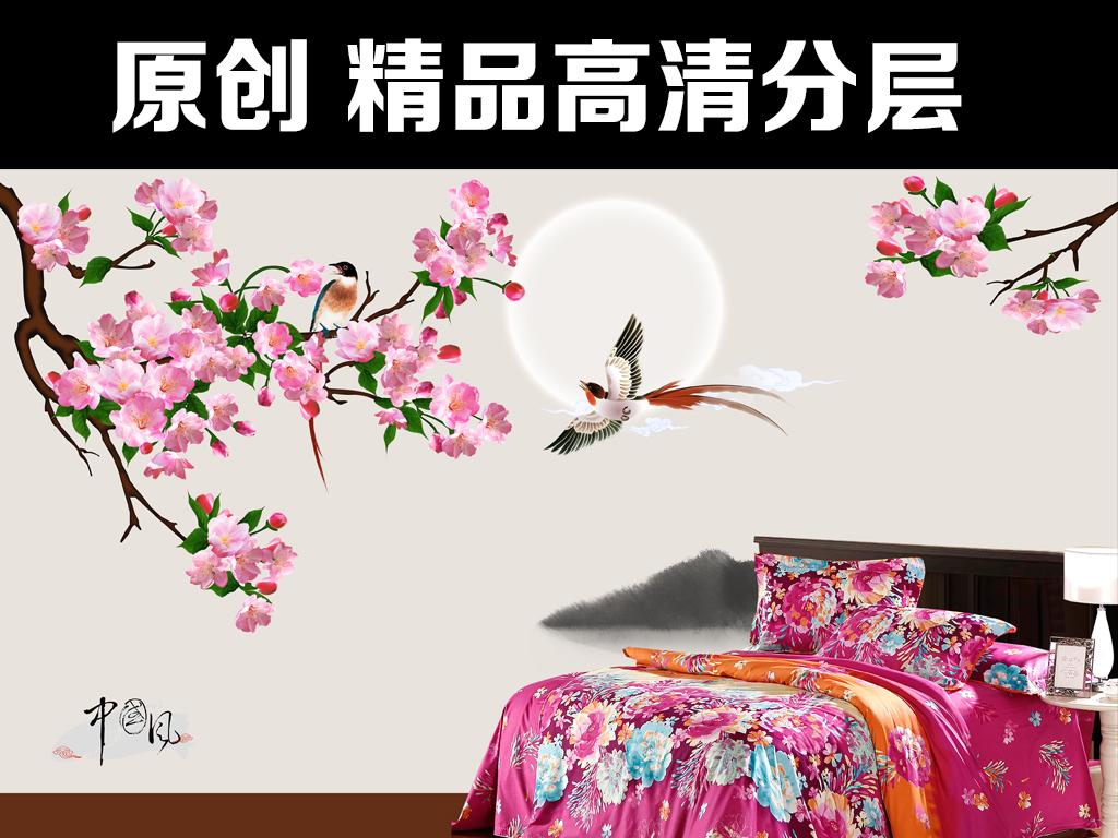 中式花鸟中国风水墨背景墙国画油画动物