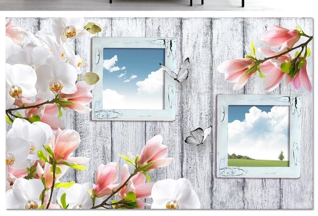 兰花木纹电视背景墙