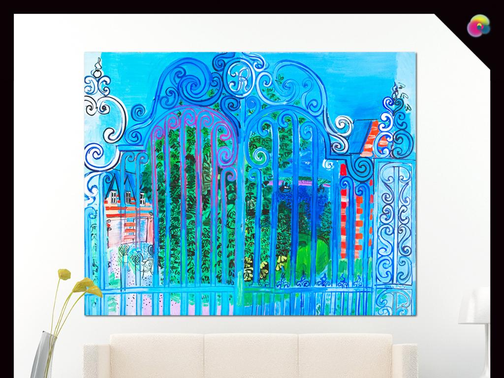 现代简约欧式复古手绘城市建筑水彩画背景墙