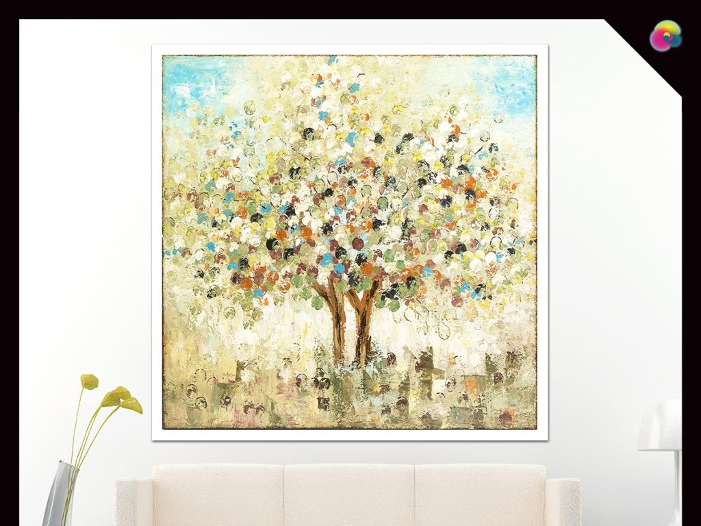 现代简约手绘抽象树油画装饰画