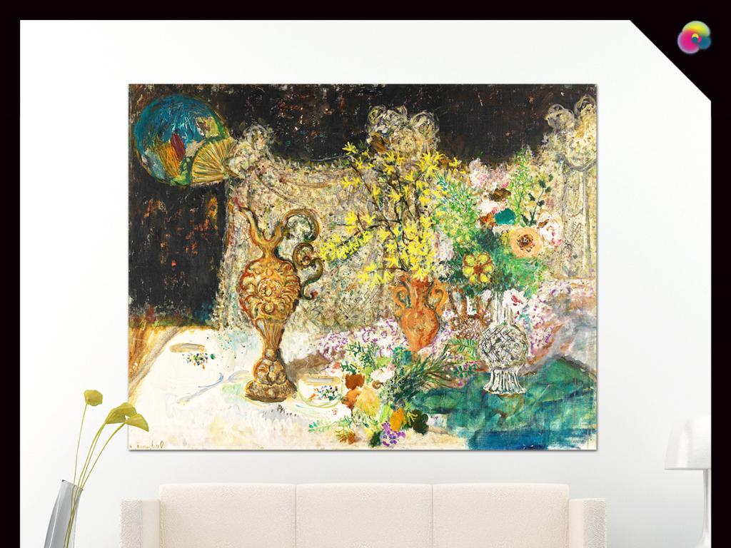 美克美家欧式古典花卉花瓶静物装饰画