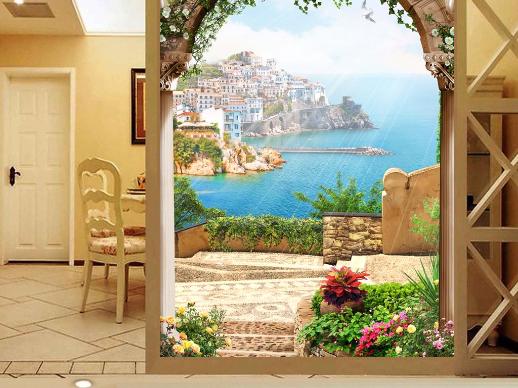 欧式拱门海景花卉玄关装饰画