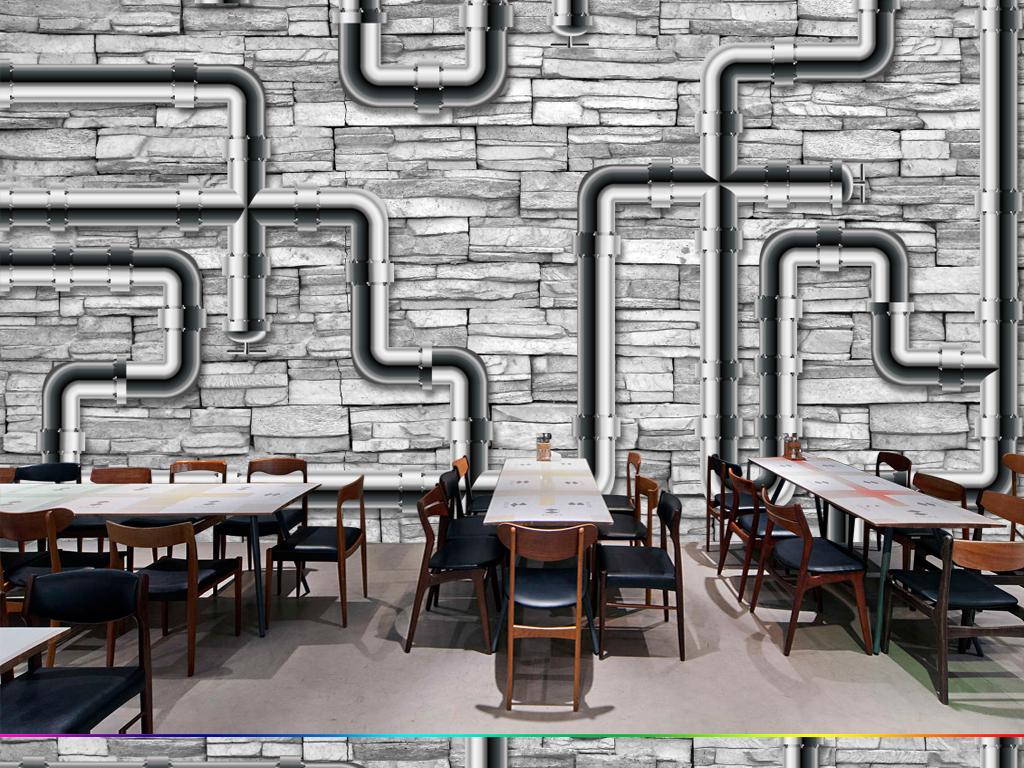 欧式复古怀旧水管管道墙壁壁画背景墙