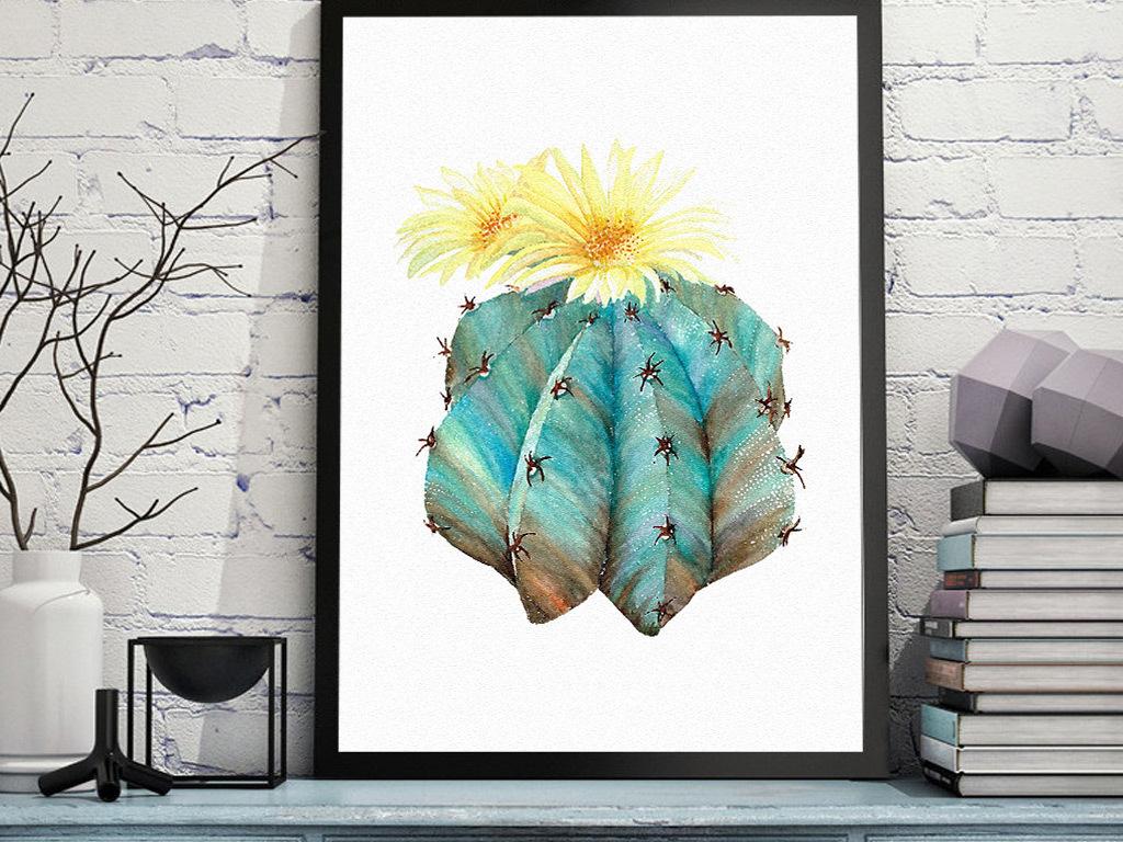 北欧风手绘小清新植物花朵图案无框画