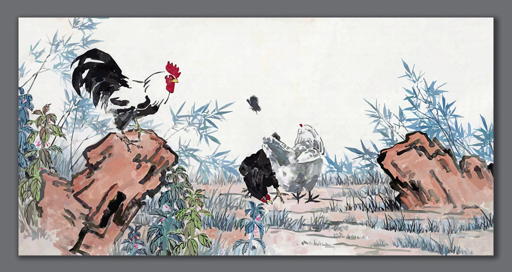 艺术国画-徐悲鸿徐悲鸿国画手绘背景装饰画背景鸡背景徐悲鸿奔马图