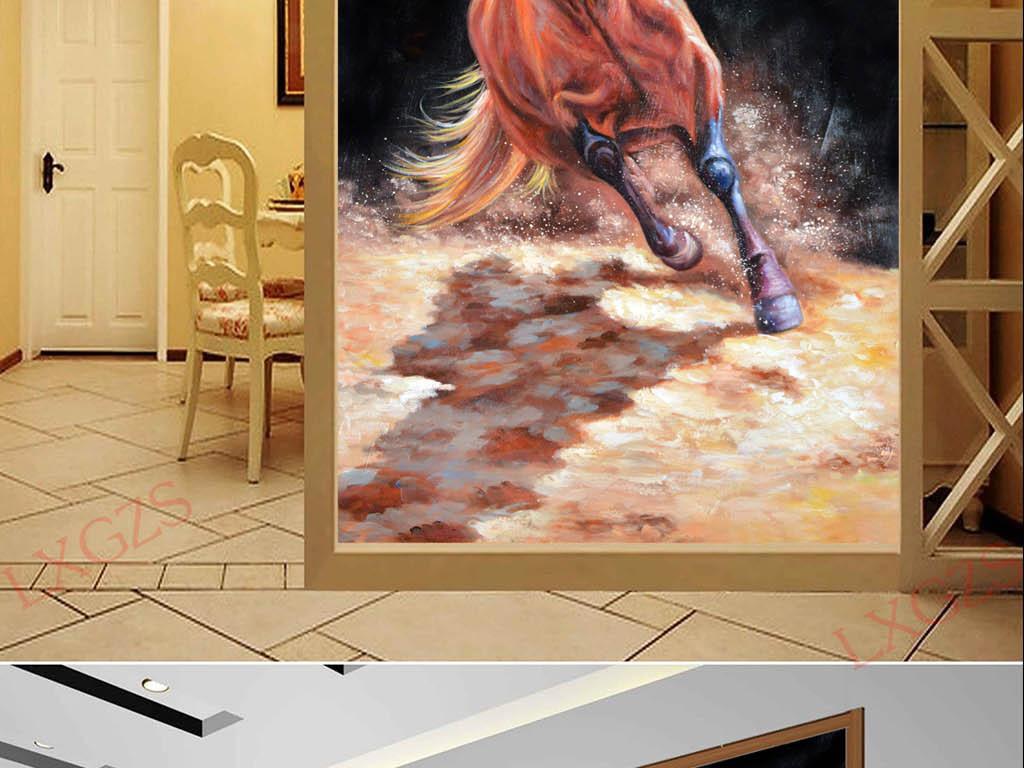 背景墙|装饰画 玄关 油画|立体油画玄关 > 一匹奔腾的骏马艺术玄关