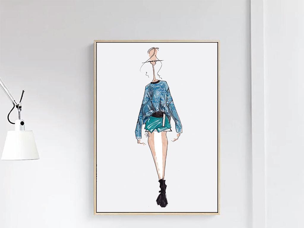 现代简约抽象服装设计装饰画图片