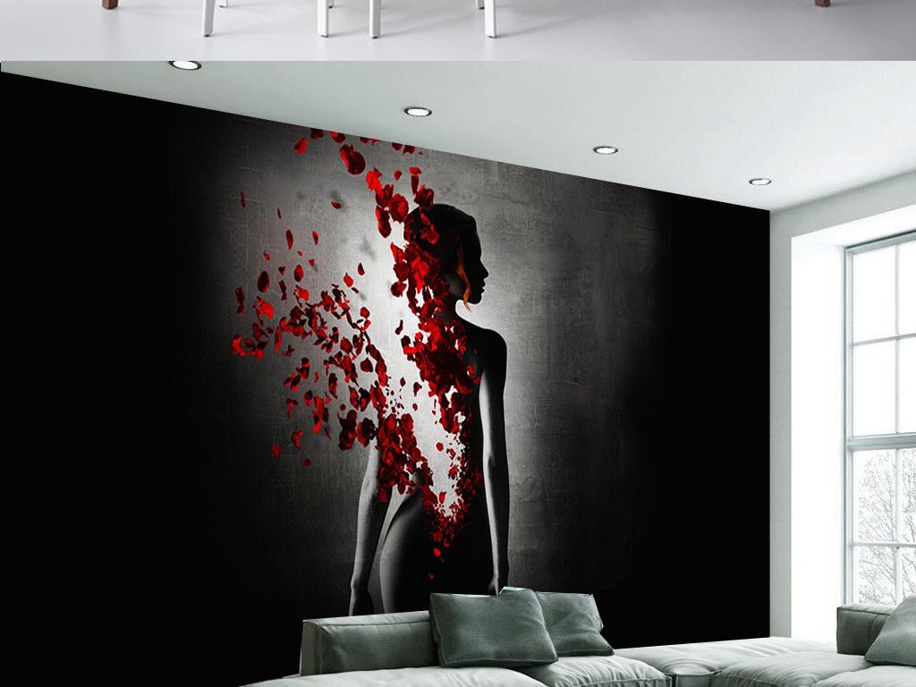 現代黑白創意女人花瓣客廳電視背景墻