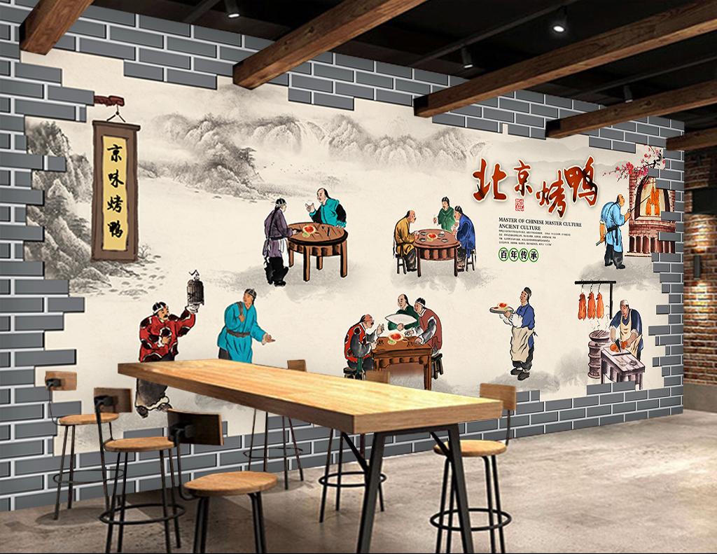 北京背景背景烤鸭手绘人物手绘背景手绘墙手绘背景墙