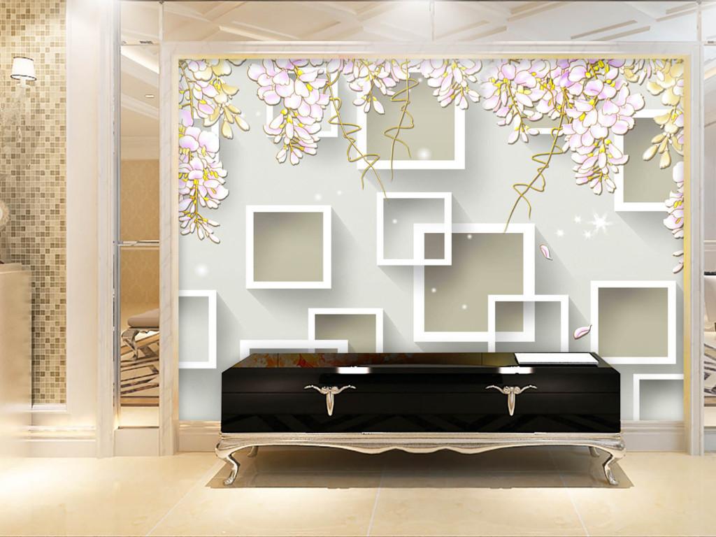 背景墙|装饰画 电视背景墙 3d电视背景墙 > 手绘3d紫藤花简约背景墙