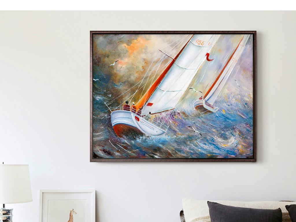 巨幅手绘油画海浪帆船扬帆起航海洋