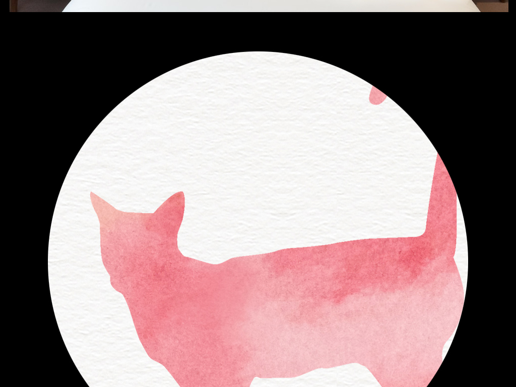 手绘小清新森系叶子花草小猫桃花樱花粉红高清猫咪原创大型分层名片素