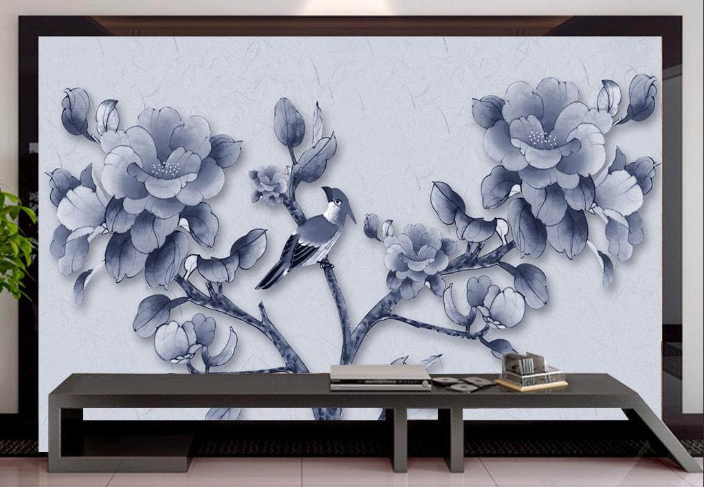 手绘花鸟工笔画花鸟图背景墙