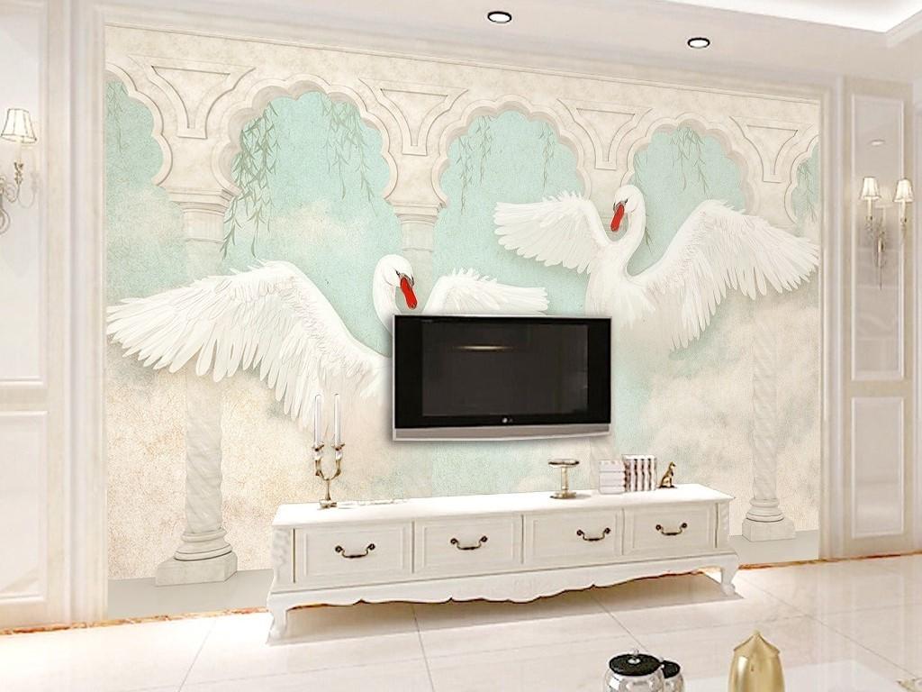 创意新款3d立体天鹅罗马柱欧式电视背景墙