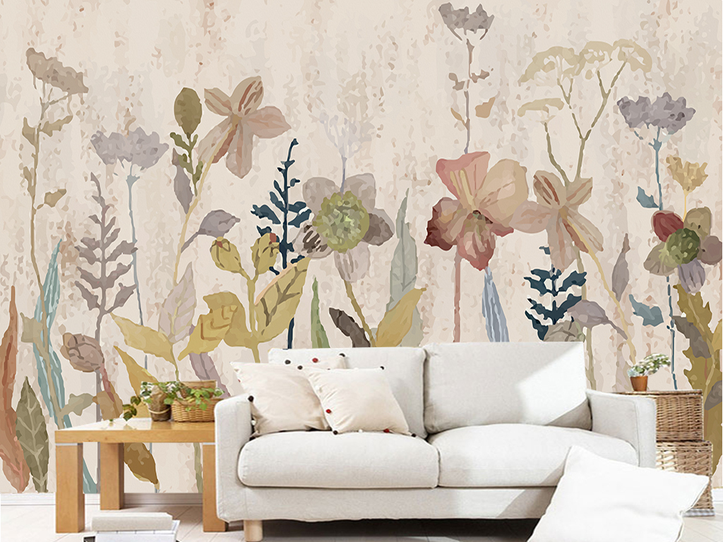 背景墙|装饰画 电视背景墙 手绘电视背景墙 > 美式乡村复古花卉花丛
