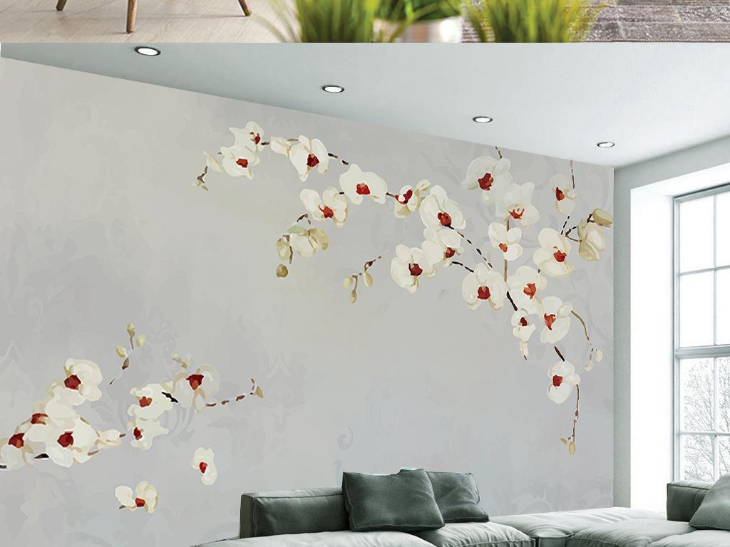 手绘清新田园玉兰花卉中式客厅电视背景墙