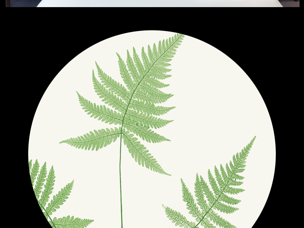 现代简约剪影水彩手绘小清新森系叶子花草白木板蕨类植物装饰画北欧