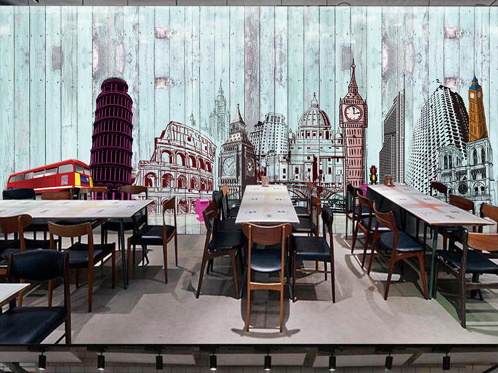 复古英伦欧式木板背景墙