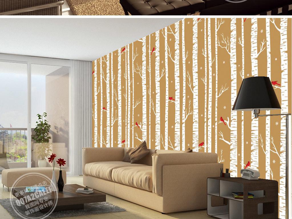 北欧简约手绘树林小鸟电视背景墙