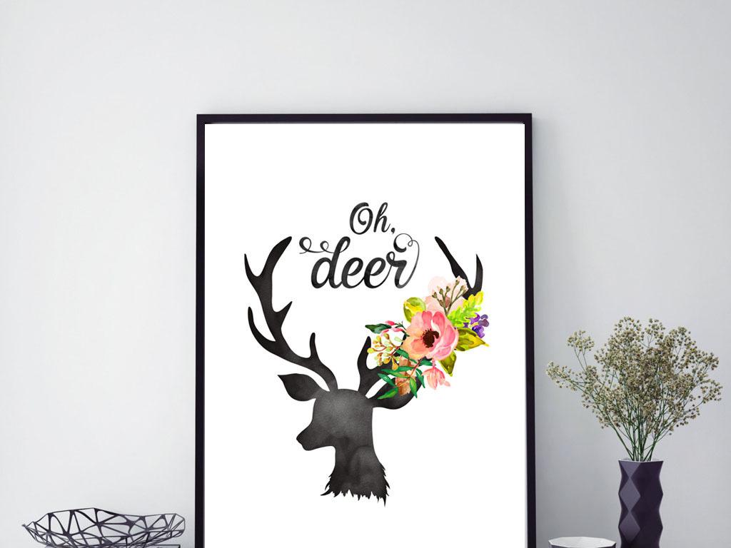 鹿头装饰画北欧现代简约黑白图片