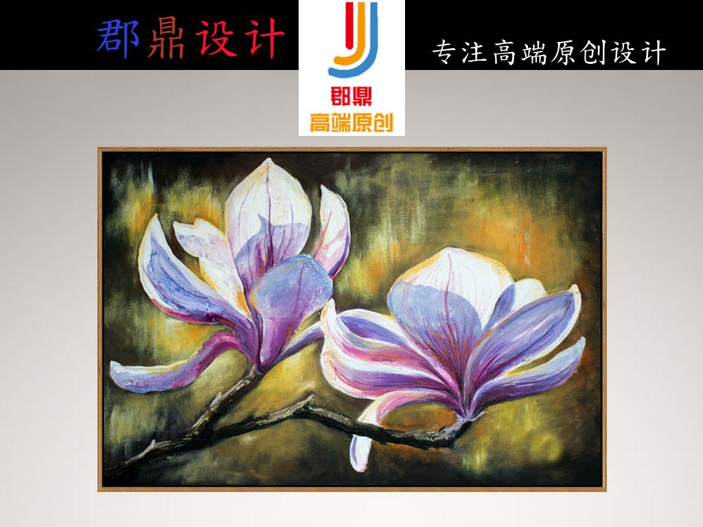 兰花手绘油画复古手绘巨幅油画兰花怀旧复古手绘兰花复古油画手绘复古