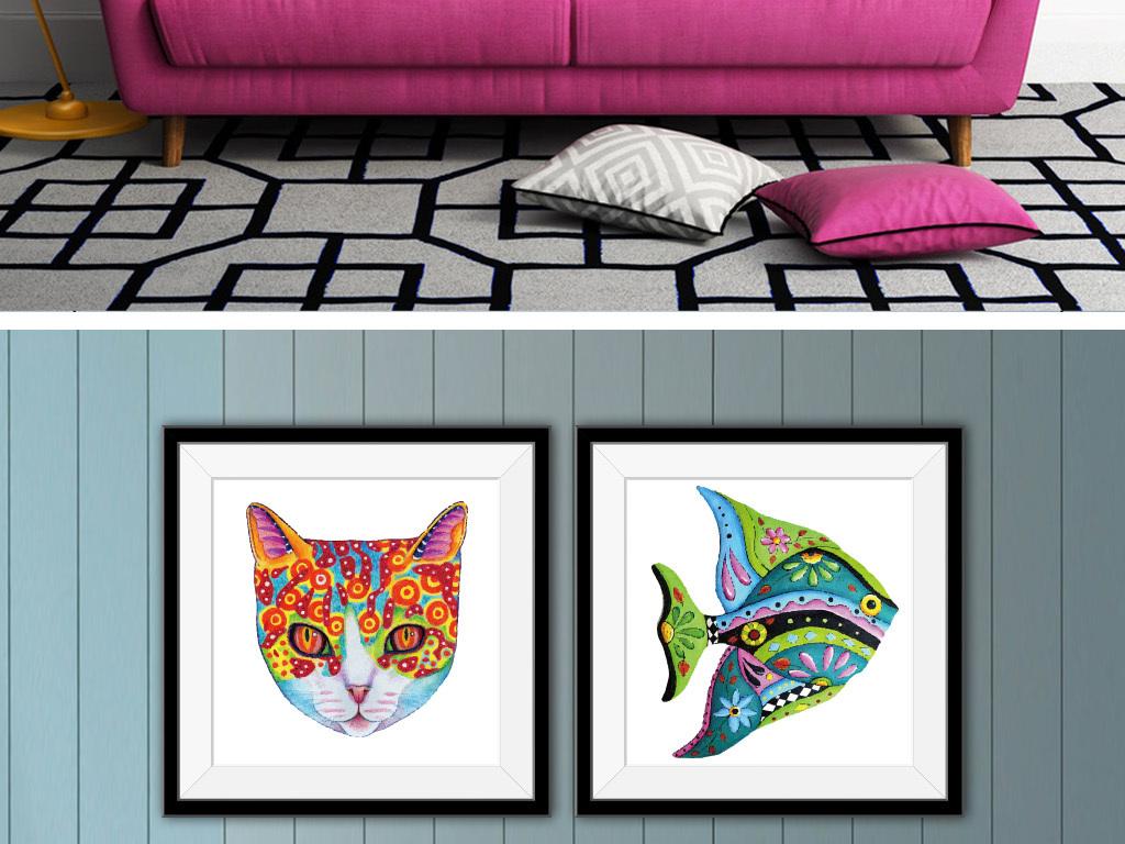 动物手绘水彩画欧式装饰画