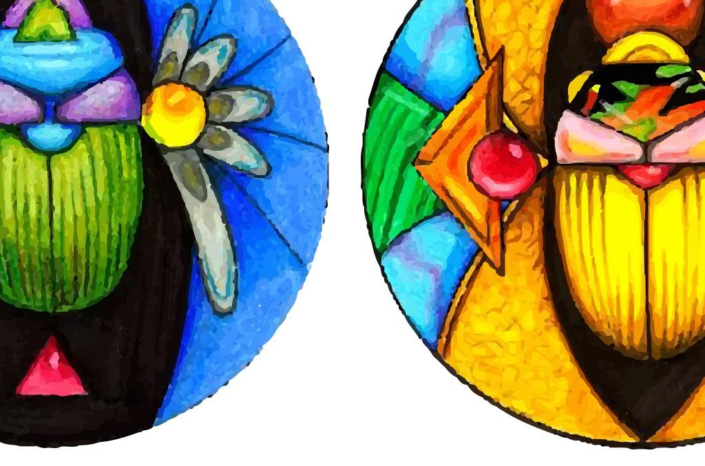 甲壳虫矢量手绘水彩画欧式装饰画无框画