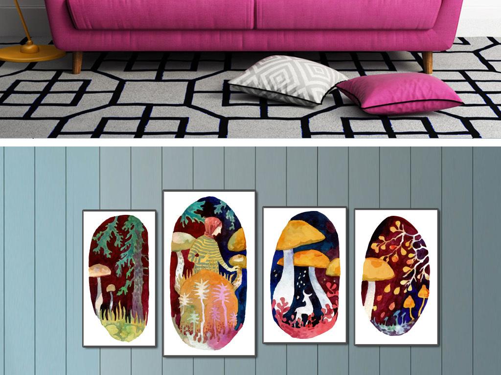 森林系手绘水彩画欧式装饰画图片
